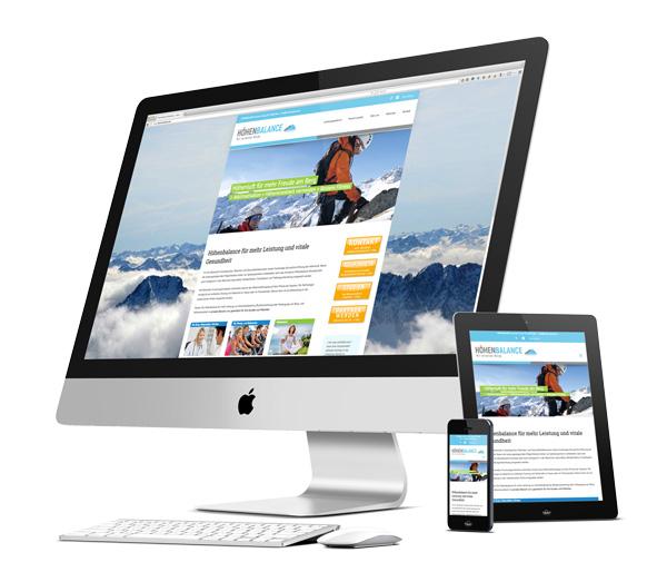 Monitor, Tablet und Smartphone mit Website Höhenbalance im Responsive-Design - erstellt von Onlinemarketing Köln