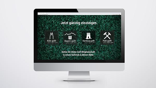 Golfmarketing: Startseite von Deutschland Golf mit Logo Design der aktuellen Regionen