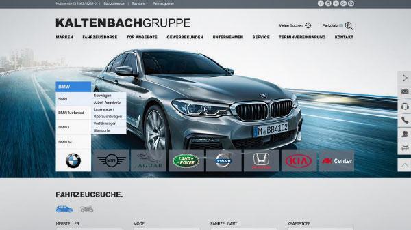Startseite Webdesign, Autohausmerketing