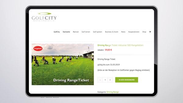 GolfCity Shop auf dem Tablet